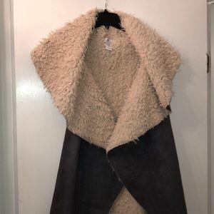 Women's drape front , long faux fur lined vest
